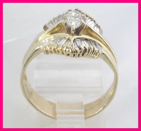14k Yellow Gold Marquise Baguette Diamond Engagement Wedding Ring Set 1