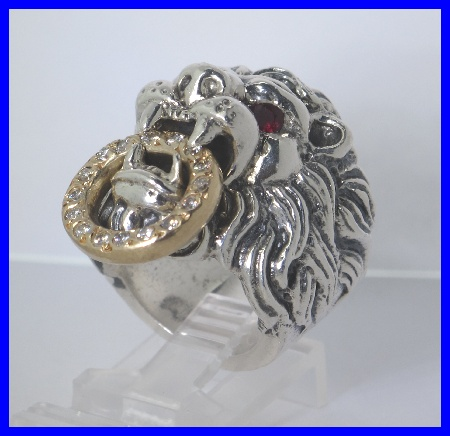 Silver 18k king baby diamond ruby lion head ring 52c ebay for King baby jewelry sale
