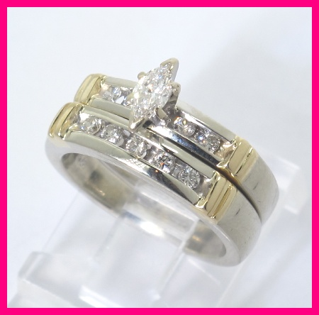 this listing is for ladies 14k white and yellow gold diamond two piece wedding ring set the ring has 1 marquise cut diamond that is 18 carats total i - Yellow Gold Wedding Ring Sets