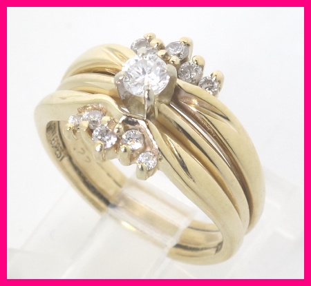 this listing is for ladies 14k yellow gold diamond 3 piece wedding ring set that has been soldered together your local jeweler could easily separate these - 3 Piece Wedding Ring Set