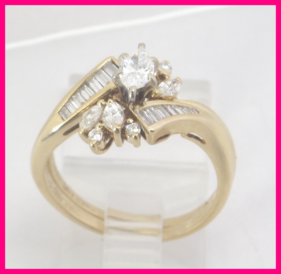 14k Yellow Gold Marquise Amp Baguette Round Diamond