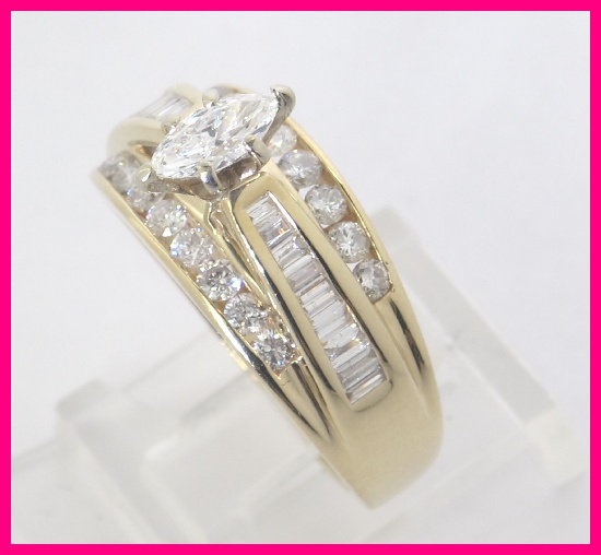 This listing is for a 14k yellow gold diamond engagement ring. The ring  features 1 marquise cut diamond that is .38 carats total (graded G color,  ...