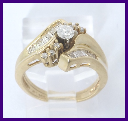 14k yellow gold round amp baguette diamond 2pc engagement