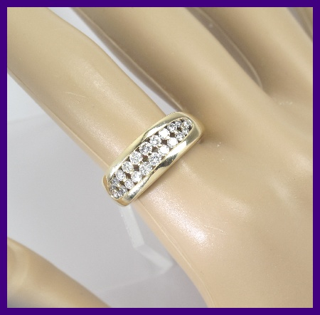 14k Yellow Gold Diamond Double Row Right Hand Wedding Band Ring 90ct 79gm