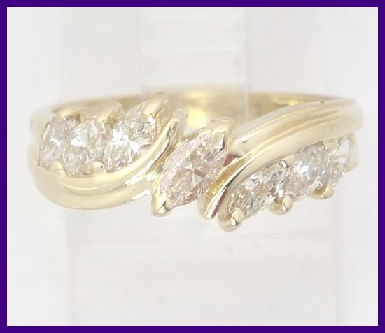 14k Yellow Gold Graduated Marquise Diamond Wedding