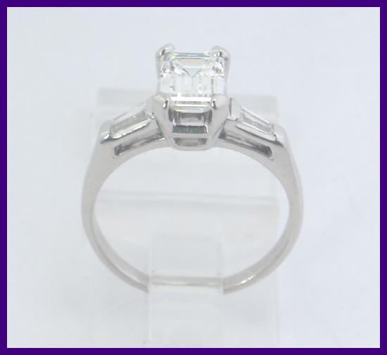 platinum emerald cut baguette engagement ring 1