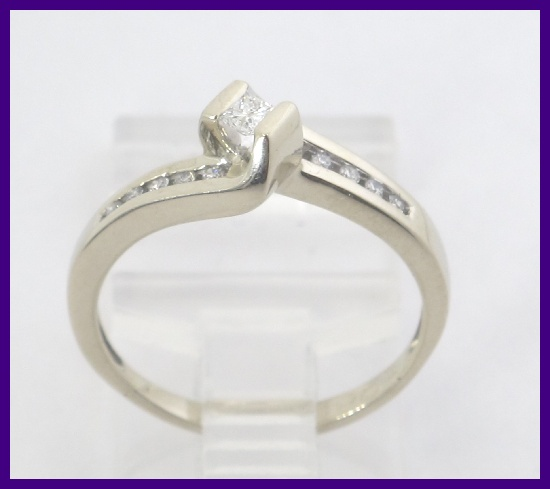14k White Gold Princess Amp Round Diamond Right Hand Engagement Ring 19ct