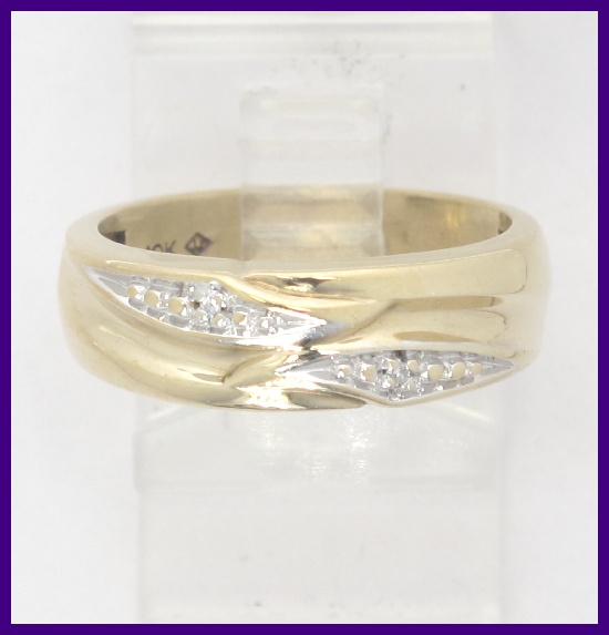 10k Yellow Gold Round Diamond Right Hand Wedding Band Ring 02ct