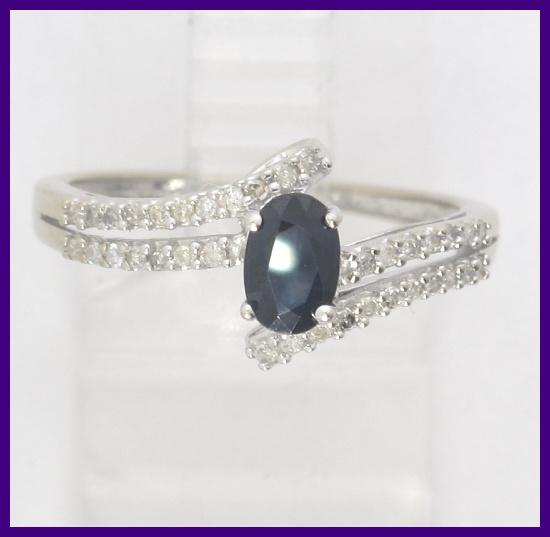 10k White Gold Oval Blue Sapphire & Round Diamond Accent ...