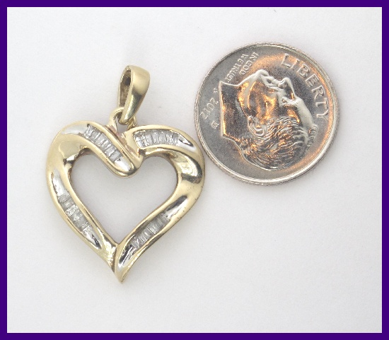10k Yellow Gold Baguette Diamond Heart Pendant Charm 25ct