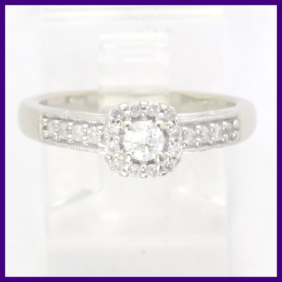 10k White Gold Round Diamond Right Hand/Engagement Ring ...