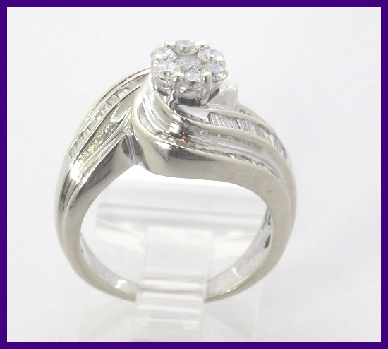 10k White Gold Round Amp Baguette Diamond Right Hand Engagement Ring 104ct