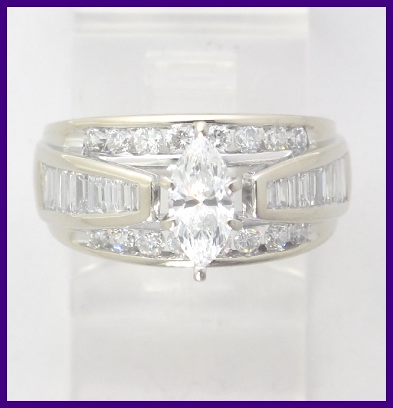 14k White Gold Marquise Round Amp Baguette Diamond