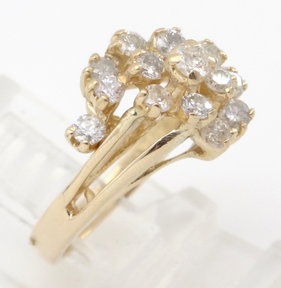 14k yellow gold round diamond cocktail cluster ring 80ct for Cocktail 3g