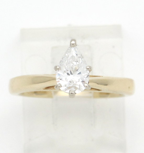 14k yellow gold pear shaped solitaire engagement ring